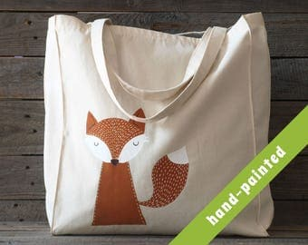 fox tote/ fox bag/ tote bag/ eco bag/ Cotton tote bag/ hand-painted tote bag, fox/ animal bag/ fox bag/ fox tote bag/ fox purse/ fox gifts