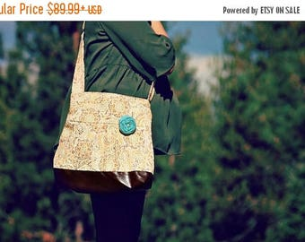 CHRISTMAS SALE Conceal Carry Purse, Medium Messenger Bag, Paisley, Conceal Carry Handbag, Concealed Carry Purse, Conceal and Carry, Brown an
