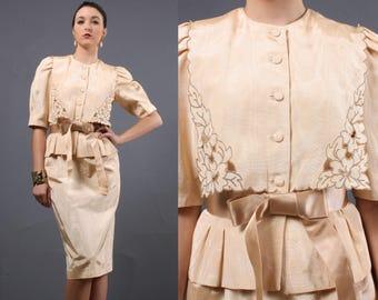 Vintage 40s style skirt top suit • blush dresses  • 1940s dress style • peplum blazer • puff sleeve top • Modest dress • Teacher • Secretary