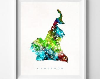 Cameroon Map Print, Yaounde Print, Cameroon Poster, Home Decor, Map Art, State Art, Giclee Art, Map, Travel Poster, Mothers Day Gift