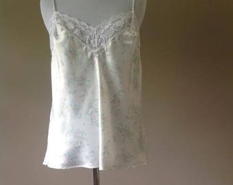 36 / Satin Cami Camisole  Top / Vintage Lingerie by Olga / FREE USA Shipping
