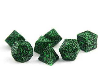 Forest Green Dice Set, D&D, Dice Set, Dungeons and Dragons, Forest RPG Dice, Geek, Geeky, DND, geekery