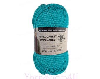 AQUA Impeccable Yarn. A teal or turquoise color. Loops and Threads large ball. Acrylic Yarn. Hats, afghans, sweaters, scarves 277yds | 4.5oz
