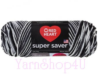 ZEBRA Red Heart Super Saver. Black and White Acrylic Yarn. Makes for Excellent black and white color pooling Planned Pooling Projects.