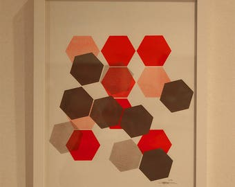 Craft(home-made) screenprinting geometric gray and Red