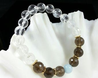 Clear Quartz Bracelet -w/ Smoky Quartz & Aquamarine ,24k Gold Filled Beads,8mm,Grade AAA,Faceted Quartz Bracelet,128 Faceted Quartz Bracelet