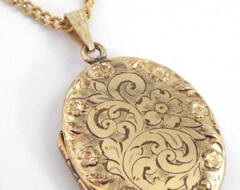 c.1900 - Antique Engraved Gold Filled Locket / Pendant w/ Chain - Hallmarked