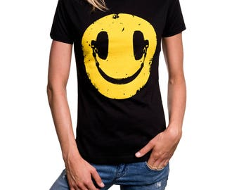Womens Music T-Shirt Headphones Smile - Hip Hop Shirt black S/M/L