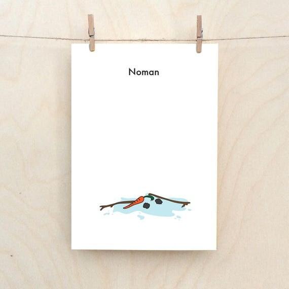 Snowman card, Funny Snowman Card, Noman, Funny Christmas card