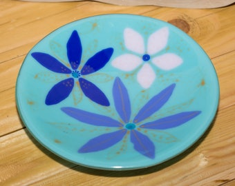 Beautiful Turquoise Flower Fused Glass Bowl