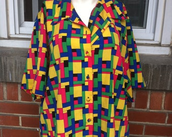 colorblock blouse large