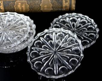 Vintage Lead Crystal Coasters, Set of 5 / Mid Century German Barware & Bar Cart Accessories