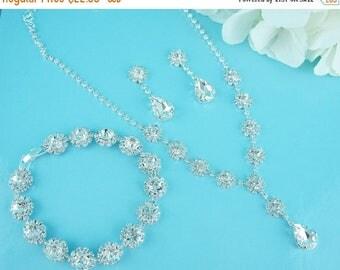 Sale Ends Monday Crystal Rhinestone Jewelry Set, Crystal Necklace Earrings Bracelet Set, bridal jewelry set, wedding jewelry set, bridesmaid