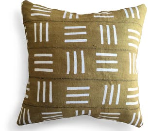 Authentic Mudcloth Pillow Cover, Yellow Ochre, Grey Mustard, Bronze, White Lines, Hatch Design