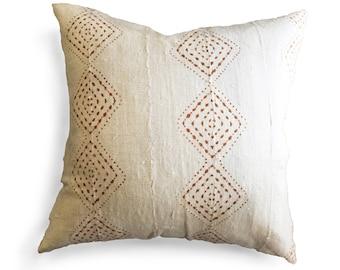 Authentic Mudcloth Pillow, Off-White/Cream, Light Copper/Light Burnt Sienna, Diamond, Dots, Geometric