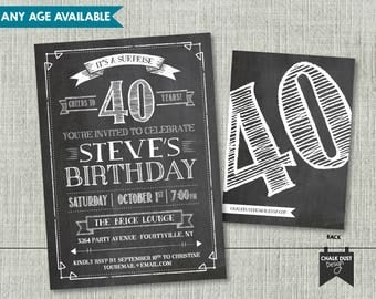 Custom chalkboard style cheers invitations. Classic men's surprise birthday, retirement. Any age 21, 30, 40, 50 + Digital or Printed 5x7