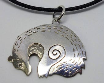 badger necklace, silver badger, sleeping badger pendant, animal necklace