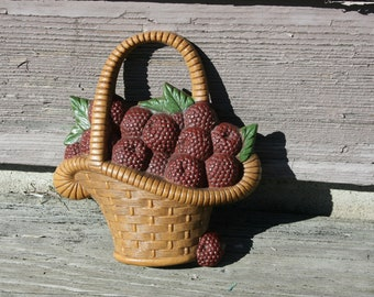 Basket of Raspberries Burwood Wall Hanging 1985 Berry Baskets Kitchen Decor