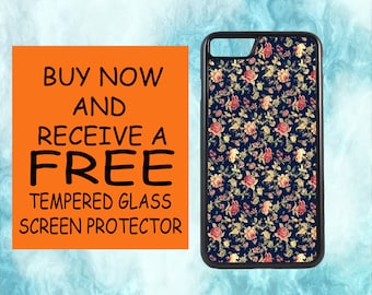 Vintage Floral Pattern Case With FREE Tempered Glass Screen Protector For iPhone 8 iPhone 8 Plus iPhone 7 iPhone 7 Plus iPhone X