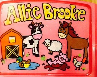 farm activity tray, girls lap tray, girls TV tray, horse lap tray, farm lap tray, farm tv tray, kids game tray, girls arts craft tray