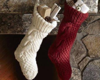 Personalized Christmas Stocking,Christmas Stocking,Christmas decoration,Hand knit Christmas Stocking,Knitted Christmas Stocking
