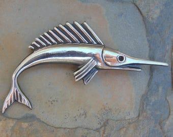 Vintage Sterling Silver Marlin Fish Pin / Brooch