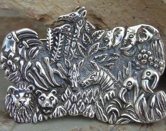 D'Molina ~ Mexican Sterling Silver Paired Animal Brooch / Pin - 24 Grams