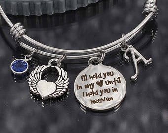 Custom I'll hold you in my heart Memorial Bracelet, bereavement gift, memorial jewelry, sympathy bracelet, remembrance gift