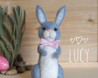 Needle felted bunny, gray rabbit, Easter rabbit, wool felt bunny, spring bunny, Easter bunny, needle felting, Easter gift, Easter decor