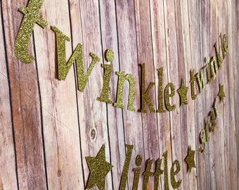 Twinkle Twinkle Little Star Glitter Banner - Baby Shower, Nursery Decor, 1st Birthday