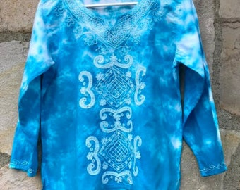 Embroidered Turquoise and White Tie Dye Long Sleeve Blouse