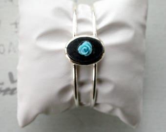 Bracelet argenté et ardoise BRA44
