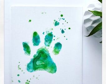 Watercolor Paw Print/ Pet Paw Print/ Watercolor Canvas