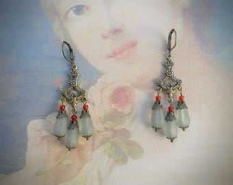 Small chandelier earrings, Victorian style, oxidized brass, antique bronze, matte blueish grey and Siam red Czech glass beads, vintage look