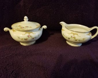 Vintage Eggshell Sugar Bowl and Creamer