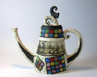 teapot - ceramic teapot - decorative  teapot - red teapot - ceramic red teapot