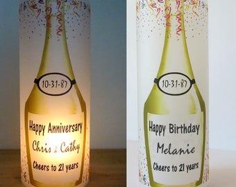 12 Personalized Wine, Champagne bottle, Birthday, Anniversary, Retirement, Wedding Centerpiece Table Decoration Luminaries