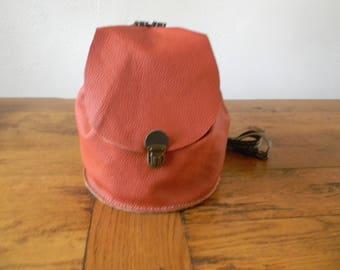 Handmade orange/brown leather backpack