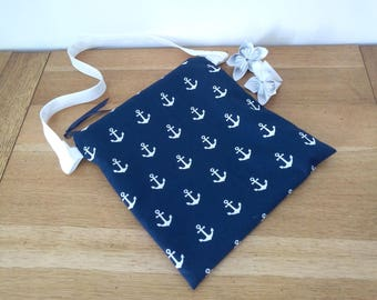 Waterproof pouch for pool Navy anchors printed off white