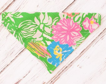 Lilly Pulitzer Inspired Hibiscus Stroll Dog Bandana, Dog Scarf