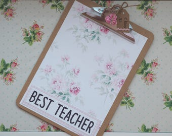 Shabby Chic Floral Personalised Clipboard Thank You Teacher Student Gift Leaving Present End of Term