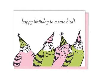 Birthday Card - Birthday Budgies - Unique Gift - Greeting Card