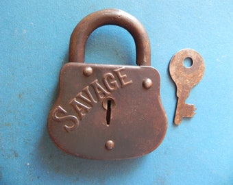"Antique ""SAVAGE"" Padlock W/ Key."