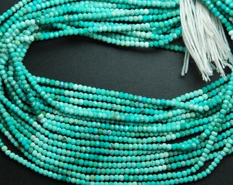13'' Strand, AAA Quality Shaded Natural Arizona Sleeping Beauty Turquoise Rondelles, 2.60mm