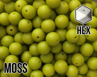 17 mm Hexagon Moss Silicone Beads 5-1,000 (aka Bright Green, Bright Chartreuse) Geometric Bead