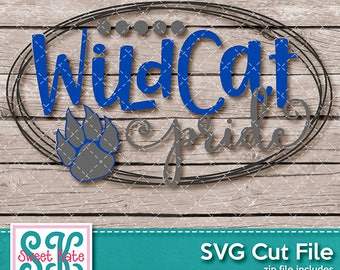 Wildcat Pride SVG dxf EPS png JPG htv Heat Transfer Vinyl Cricut Explore Silhouette Cameo Sports Football Sweet Kate Designs
