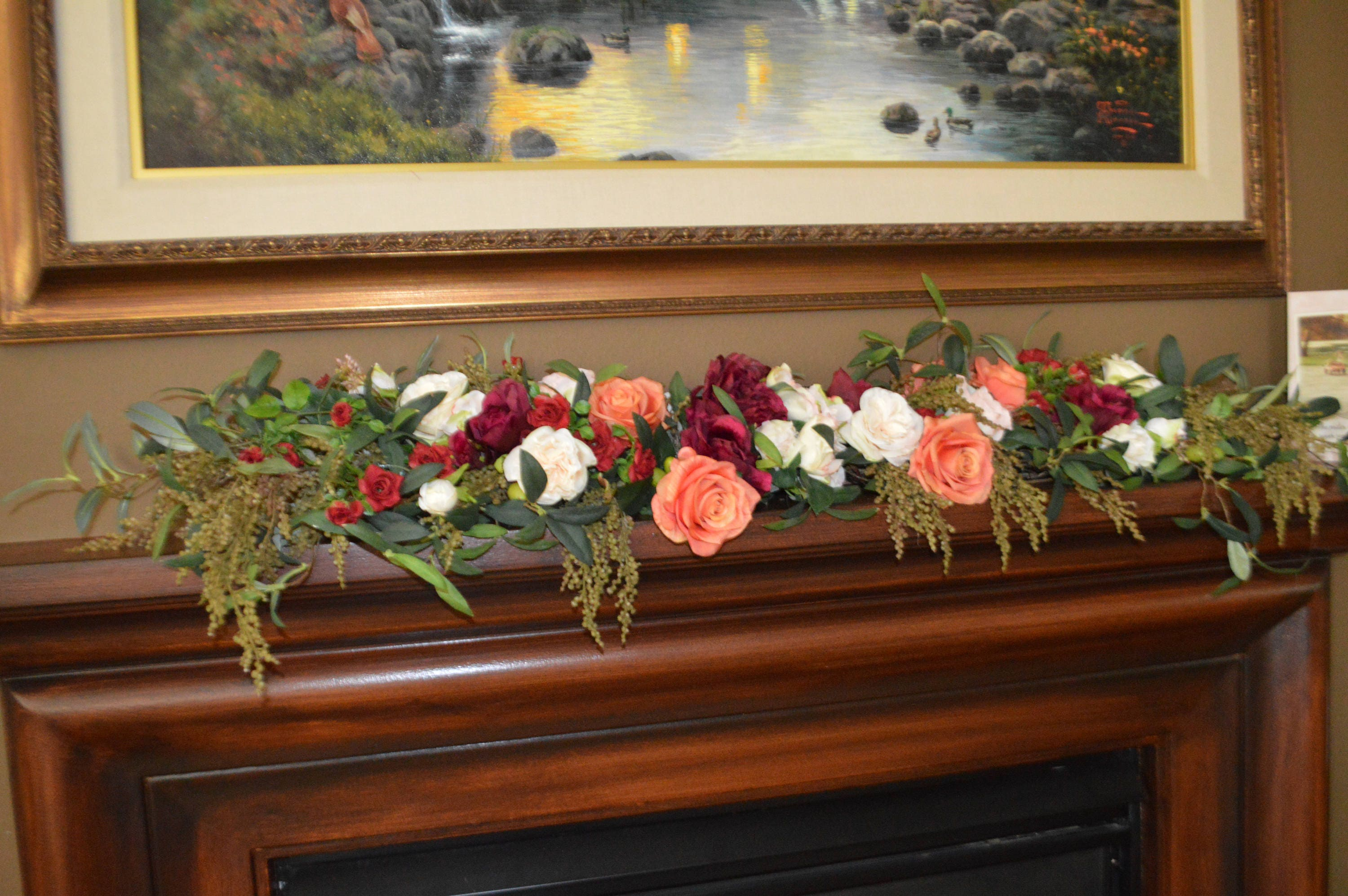 mantle swag floral swag fireplace swag wall swag floral