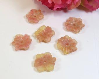 One Czech Glass Peach Pink Centre Hole Flower Pendant Bead  20mm Pendant Bead - DESTASH