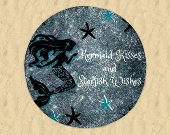 Mermaid Kisses  Round Beach Towel  60""