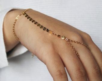 Chain Hand Bracelet | Slave Bracelet | hand chain | Finger Bracelet | hand bracelet | hand jewellery | coin chain bracelet | Gold plated